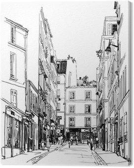 Leinwandbild Straße nahe Montmartre in Paris