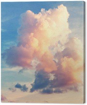 Leinwandbild Sunny sky background in vintage retro style