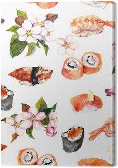 Leinwandbild Sushi, Sakura-Blüten nahtlose Muster wiederholen. Aquarell Essen