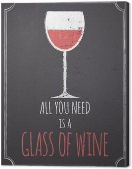 Leinwandbild Tafel Rotwein Entwurf