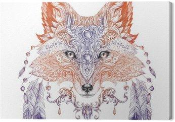 Leinwandbild Tattoo, Porträt eines wilden Fuchs