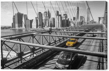 Leinwandbild Taxi-Überquerung der Brooklyn Bridge in New York