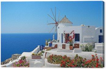 Leinwandbild Traditionelle Architektur von Oia Dorf auf der Insel Santorini in G