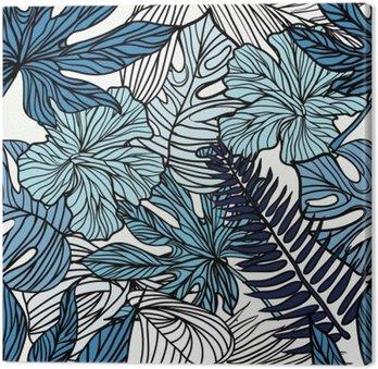Leinwandbild Tropical exotischen Blumen und Pflanzen mit grünen Blättern der Palme.
