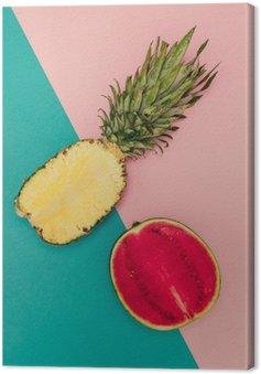 Leinwandbild Tropical Mix. Ananas und Wassermelone. minimal Stil