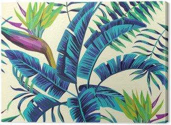 Leinwandbild Tropische exotische Malerei nahtlose Hintergrund