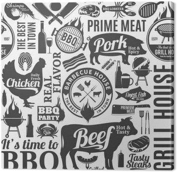 Leinwandbild Typografische Vektor Grill nahtlose Muster oder Hintergrund
