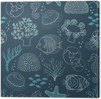 Leinwandbild Unterwasser-Leben-Muster