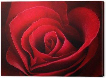 Leinwandbild Valentine Red Rose. Heart shaped