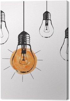 Leinwandbild Vector Grunge Illustration mit Glühbirnen und Platz für Text hängen. Moderne Hipster Skizze Stil. Einzigartige Idee und kreatives Denken Konzept.