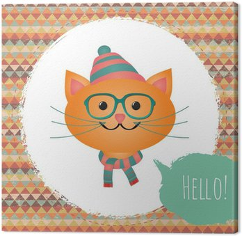Leinwandbild Vector Hipster Cat-Grußkarte, Design, Illustration