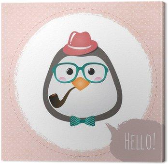 Leinwandbild Vector Hipster Pinguin Grußkarte, Design, Illustration