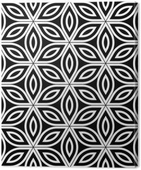 Leinwandbild Vector moderne nahtlose heilige Geometrie Muster, schwarze und weiße abstrakte geometrische Blume des Lebens Hintergrund, Tapetendruck, Monochrom Retro Textur, hipster Mode-Design