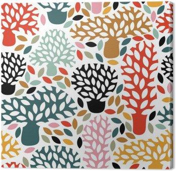 Leinwandbild Vector Multicolor nahtlose Muster mit Hand gezeichnet Doodle Bäume. Zusammenfassung Herbst Natur Hintergrund. Entwurf für Gewebe, Textil Herbst druckt, Packpapier.
