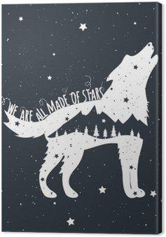 Leinwandbild Vektor-Illustration mit heulender Wolf, Berge und Bäume