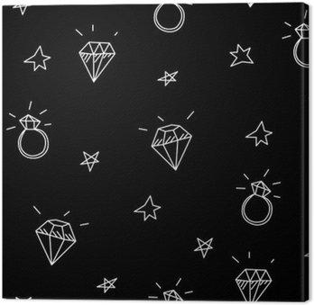 Leinwandbild Vektor nahtlose Muster mit Hochzeitsringen, Stars und Juwelen. Old school Tattoo-Elemente. Hipster-Stil
