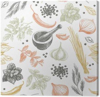 Leinwandbild Vektor nahtlose Muster mit Kräutern und Gewürzen.