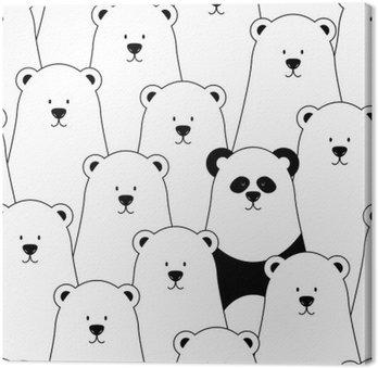 Leinwandbild Vektor nahtlose Muster mit weißen Eisbären und Panda