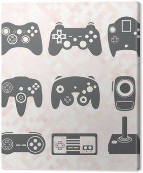 Leinwandbild Vektor-Set: Video Game Controller Silhouetten