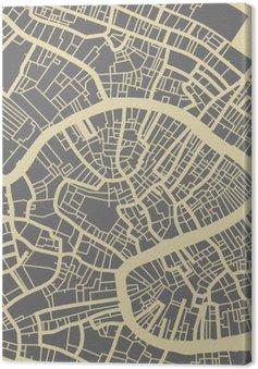 Leinwandbild Venedig Vektorkarte. Monochrome Vintage-Design-Basis für die Reise-Karte, Werbung, Geschenk oder Plakat.