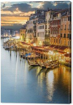 Leinwandbild Venezianischer Canal Grande bei Nacht