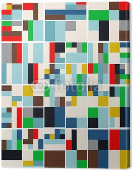 Leinwandbild Vintage Hipster geometrischen Muster in Tetris Style Vector