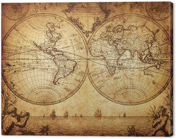 Leinwandbild Vintage Karte der Welt 1733