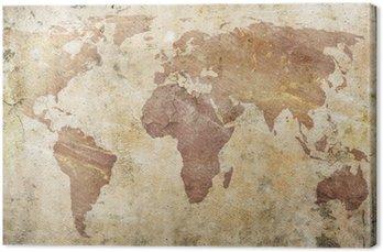Leinwandbild Vintage Karte der Welt