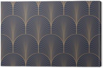 Leinwandbild Vintage-tan blau und braun nahtlose Art-Deco-Tapetenmuster Vektor