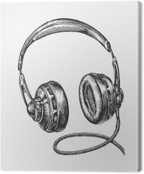 Leinwandbild Von Hand gezeichnet Vintage-Kopfhörer. Sketch Musik. Vektor-Illustration