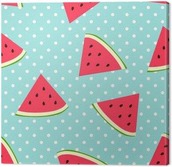 Leinwandbild Watermelon nahtlose Muster mit Tupfen