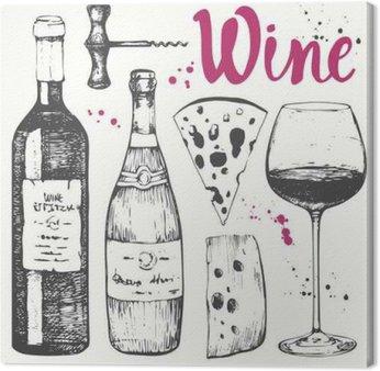 Leinwandbild Wein-Set. Weinbereitung Produkte in Skizze Stil.