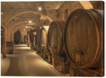 Leinwandbild Weinkeller in Abtei von Monte Oliveto Maggiore