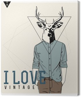 Leinwandbild Weinlese-Hipster Fashion Deer Illustration