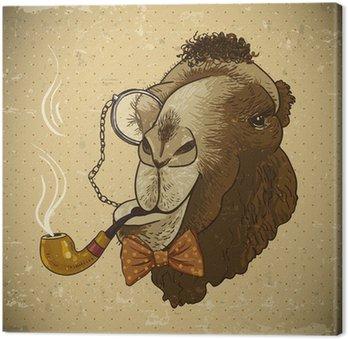 Leinwandbild Weinlese-Karte Hippie-Tier Kamel mit Rohr