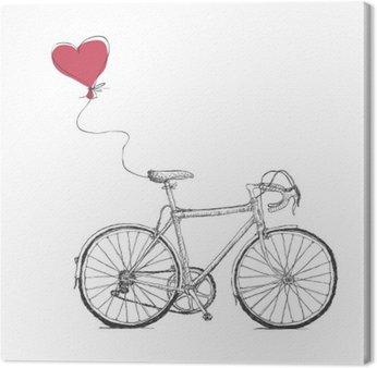 Leinwandbild Weinlese-Valentinsgruß-Abbildung mit Fahrrad und Herz Baloon
