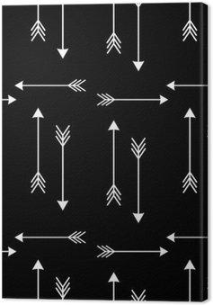 Leinwandbild Weiße Pfeile auf schwarzem Hintergrund nahtlose Vektor-Muster illustration__