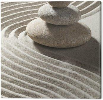 Leinwandbild Welle zen Sand und drei Rollen