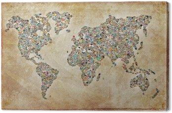 Leinwandbild Weltkarte, vintage Textur