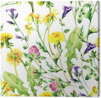 Leinwandbild Wiese Aquarell wilde Blumen nahtlose Muster