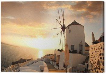 Leinwandbild Windmill in Santorini gegen Sonnenuntergang, Griechenland