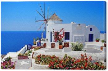 Leinwandbild Windmühle auf der Insel Santorin, Griechenland