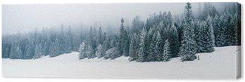 Leinwandbild Winter white Wald mit Schnee, Weihnachten Hintergrund