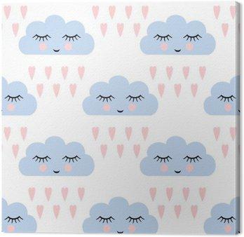 Leinwandbild Wolken-Muster. Nahtlose Muster mit schlafenden Wolken und Herzen für Kinder Ferien lächelnd. Cute Baby-Dusche Vektor Hintergrund. Kinderzeichnung Stil Regenwolken in der Liebe Vektor-Illustration.