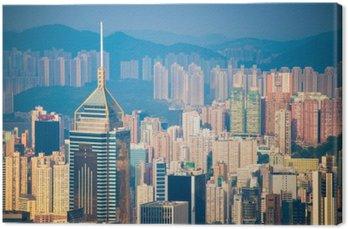Leinwandbild Wolkenkratzer Blick von der Peak Tower, Wahrzeichen von Hong Kong