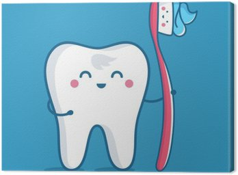 Leinwandbild Zahn mit Zahnbürste
