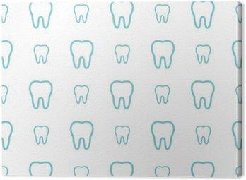 Leinwandbild Zähne auf weißem Hintergrund. Vector Zahn nahtlose Muster.