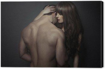 Leinwandbild Zarte romantische junge Liebhaber