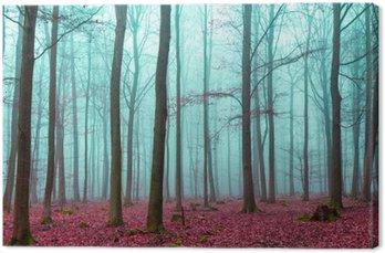Leinwandbild Zauber Wald in rot und türkis