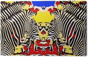 Leinwandbild Zeichnen und Malen Zebras mit roten gelben und blauen Hintergrund